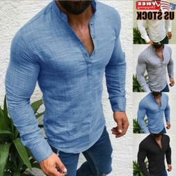 Men's V Neck Long Sleeve Shirt Casual Slim Fit Muscle Tee T-