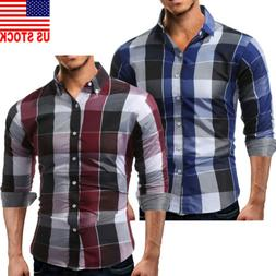 Men's Western Cowboy Slim Fit Long Sleeve Casual Plaid Butto