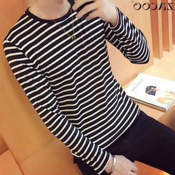 ZACOO Men Striped T shirts O-neck Fashion Tees <font><b>Long