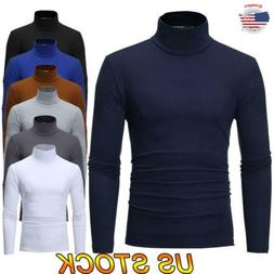Men Turtleneck Stretch Long Sleeve Sweater Casual Pullover H
