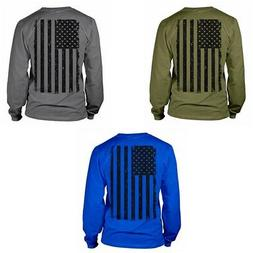 Mens Big Black American Flag Long Sleeve Casual Cotton T-Shi