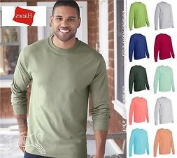 Hanes Mens Blank Cotton Long Sleeve Beefy T Shirt 5186 Up to