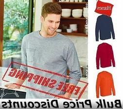 Hanes Mens Blank Cotton Long Sleeve T Shirt with a Pocket 55