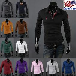 Mens Boys Stylish Slim Fit Long Sleeve Casual Shirts T-shirt