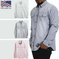 Mens Button Down Shirts Casual Western Slim Fit Long Sleeve