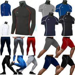 Mens Compression T-Shirts Armour Base Layer Tights Gym Sport