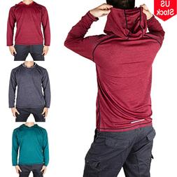 Mens Gym Long Sleeve Shirts Hooded Muscle Tops Hoodie Casual