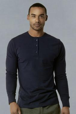 Mens Henley Long Sleeve Shirts Cotton Button Down Crew Neck