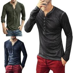 US Men Henley T-Shirts Long Sleeve With Button Slim Fit T-Sh