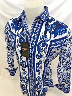 Mens PREMIERE Long Sleeve Button Down Dress Shirt BLUE DIAMO