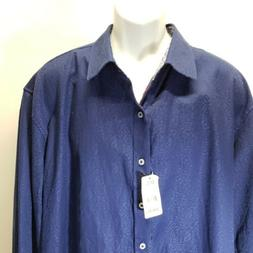Robert Graham  Men's Long Sleeve Button Front Shirt 2XL bl