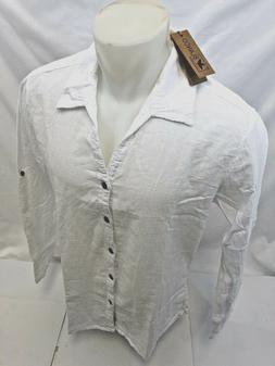 Mens LONG SLEEVE BUTTON UP BLANCO By ENVY WHITE SHIRT BEACH