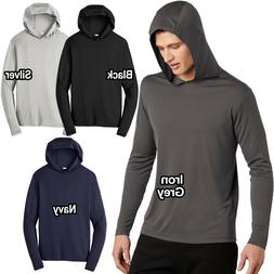 Mens Long Sleeve Hoodie T-Shirt Lightweight Moisture Wicking