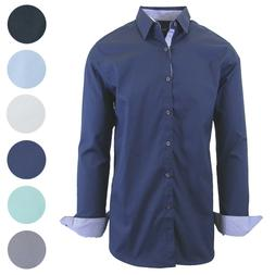 Men's Long Sleeve Stretch Cotton Dress Shirts Formal Offic