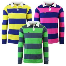 Mens Long Sleeve Striped Polo Shirt Button Casual 100% Cotto