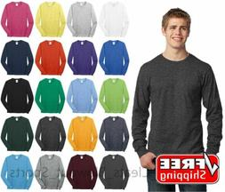 Mens Long Sleeve T-Shirt Cotton Comfort Soft Blank Color Tee