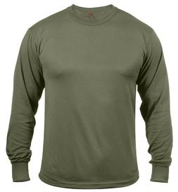 Mens Long Sleeve T-shirt Military Olive Drab Breathable Fabr