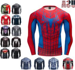 Mens Marvel Superhero Long Sleeve T-shirt Compression Armour
