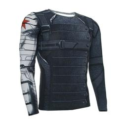 Mens Marvel Winter Soldier Compression T Shirt Base Layer Sp