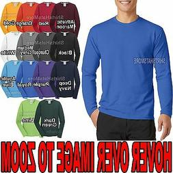 Mens Moisture Wicking Long Sleeve T-Shirt Soft Poly/Cotton T