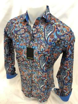 Mens PREMIERE PAISLEY Long Sleeve BUTTON DOWN Dress Shirt OR