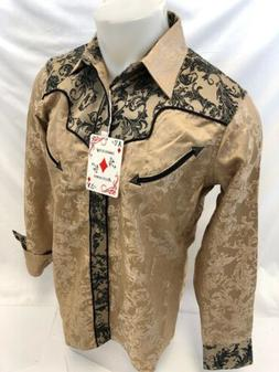 Mens RODEO WESTERN COUNTRY KHAKI PAISLEY Long Sleeve Woven S