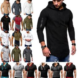Mens Slim Fit Athletic Gym Muscle Hoodies T-shirt Tops Sport