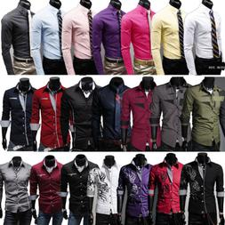 Mens Slim Fit Business Shirt Long Sleeve Dress Shirts Casual