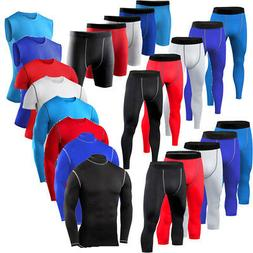 Mens Sports Compression Shorts Pants Shirts Workout Base Lay