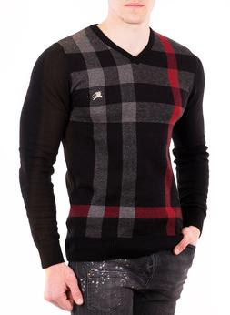 Burberry Mens Sweater V-Neck Cotton Jumper in Black and Came