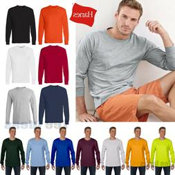 Hanes Mens Tagless 100% Cotton Long Sleeve T-Shirt with a Po