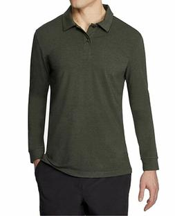32 Degrees Mens Tech Long Sleeve Polo Green Size Medium - NW
