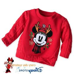 Disney Store Minnie Mouse Holiday Sweater for Baby Warm Size