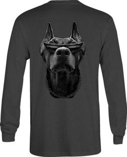 Motorcycle Long Sleeve Tshirt Doberman in Sunglasses with Ch