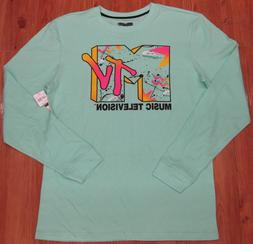 MTV Music Television Long Sleeve Stretch T Shirt Sea Green P