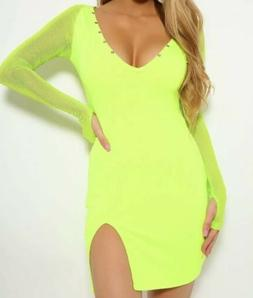Neon Green Netted Long Sleeve Thigh Slit Mini Dress Size Sma