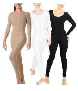 NEW Body Wrappers 217 Long Sleeve Adult Unitard, Black, Nude