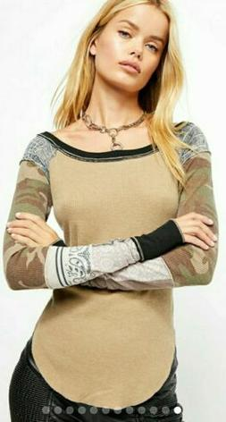 NEW Free People Bright Side Thermal Long Sleeve Waffle Knit
