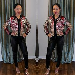 New Colorful Sequin Jacket Zipper Coat Long Sleeve Casual Pa