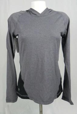 NEW Soffe Gray & Black Long Sleeve Hooded Pull Over Top Size