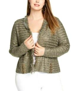 New! INC Plus Size Green Gold Raw Edge Open Front Cardigan w