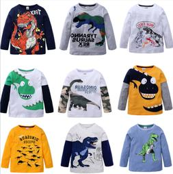 New Kids Boys  Long Sleeve T-Shirt Fashion Cartoon Dinosaur