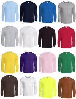 New Men's Cotton Long Sleeve T-Shirt, Crew Neck, S/M/L/XL/2X