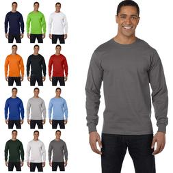 NEW Hanes Mens 100% Cotton Long Sleeve Beefy-T T-Shirt Tee S
