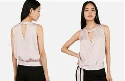 New Express Satin Surplice Cut-Out Side Tie Top XS