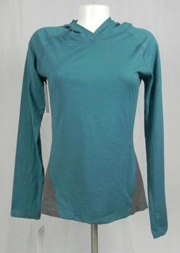 NEW Soffe Teal Blue & Gray Long Sleeve Hooded Pull Over Top