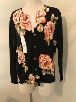 New A New Day Woman Size L Sweater Cardigan Floral Long Slee