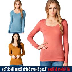New Women Active Long Sleeve Round Neck Top Basic T Shirts S