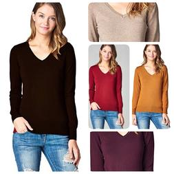 Women Fashion  Casual V-Neck Long Sleeve Lightweight Sweater