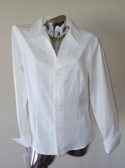 New Women's Calvin Klein White Long Sleeve Top Button Front